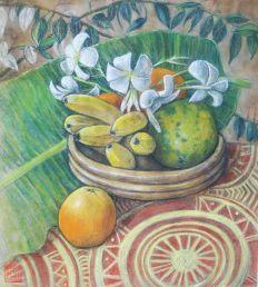Still life fruit with frangipani